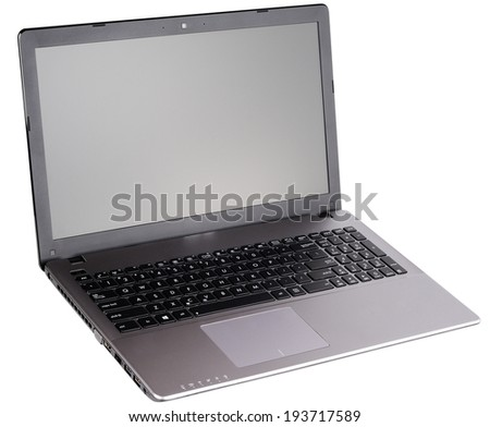 Open laptop (notebook) isolated on the white background - stock photo