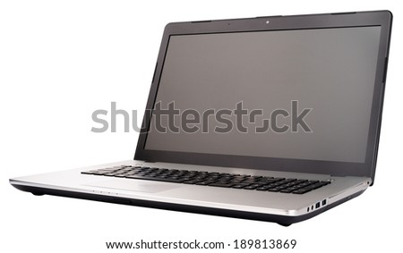 Open laptop (notebook) isometric view, isolated on the white background - stock photo
