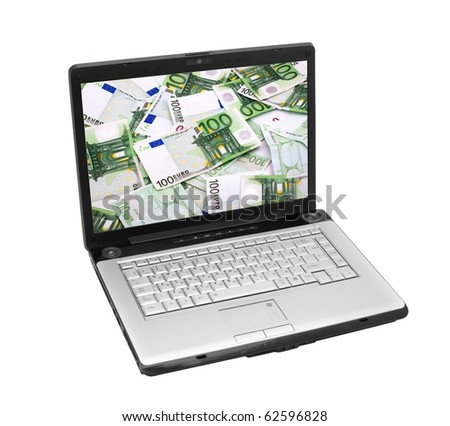 Open laptop showing keyboard and screen  isolated on white background - stock photo