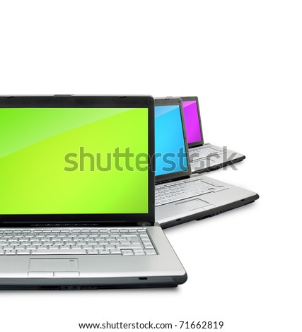 Open laptops showing keyboard and screen  isolated on white background - stock photo