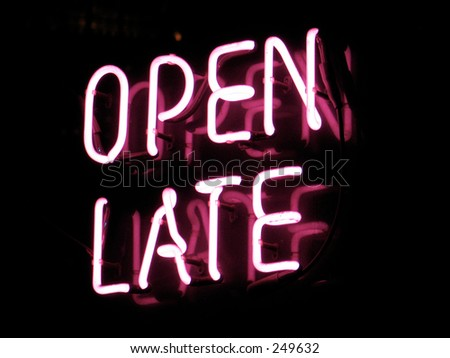 open late neon sign - stock photo