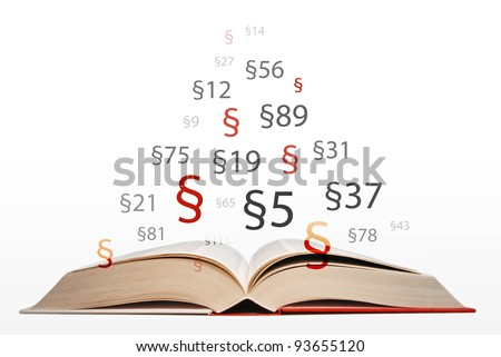 open law book with paragraphs - stock photo