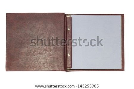 Open leather book isolated on white background - stock photo