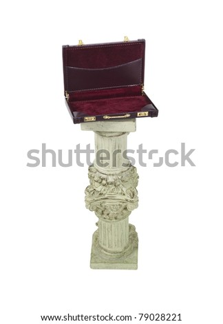 Open leather briefcase on a stone formal pedestal for raising up an item of importance - path included - stock photo