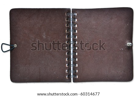 Open Leather Cover Notebook - stock photo