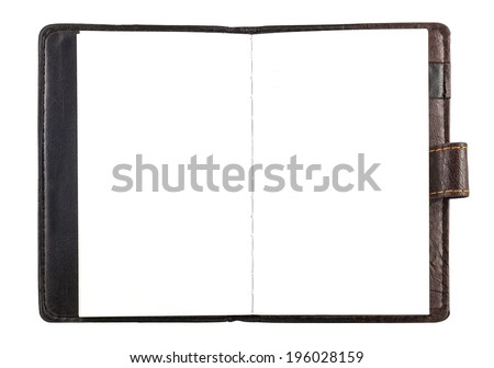 Open leather cover paper notebook with white blank page (no line) - stock photo