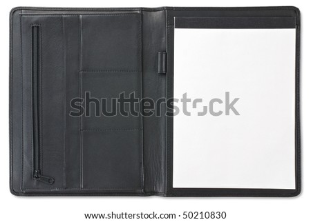 Open leather folder with notebook isolated against white background