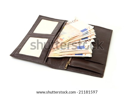 open leather wallet with fifty euro banknotes isolated on white background