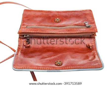 open little brown clutch bag isolated on white background - stock photo