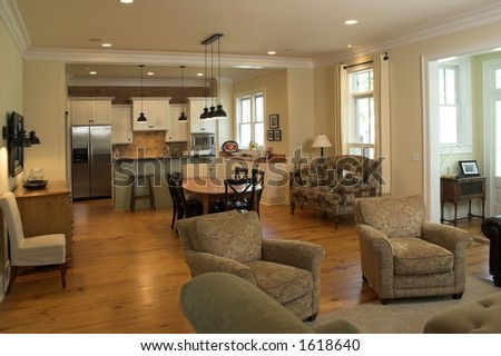 open living room and kitchen - stock photo