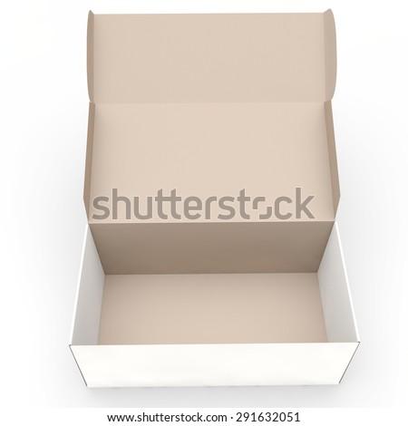 open long rectangular cardboard box - stock photo