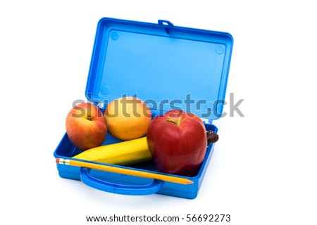 Open Lunch box with a bunch of fruit, Healthy School Lunch - stock photo