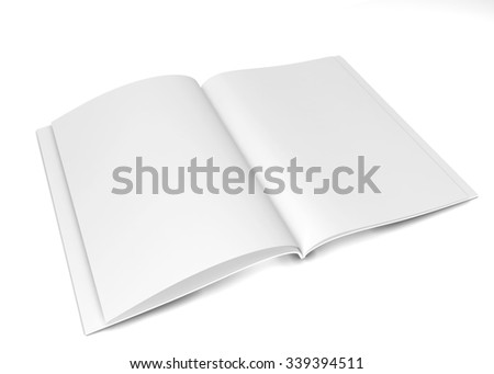 Open magazine or brochure. 3d illustration isolated on white background  - stock photo