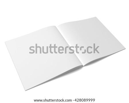 Open magazine or brochure. 3d illustration isolated on white background  - stock photo