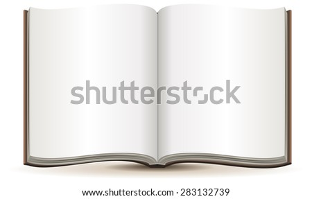 Open magazine with blank pages in a brown cover. Isolated illustration