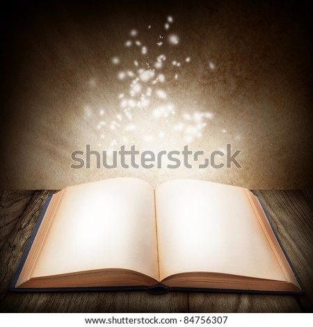 Open magic book - stock photo