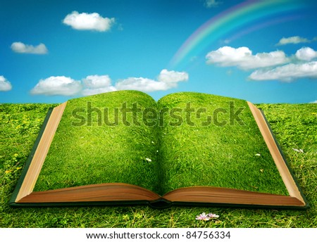Open magic book of nature - stock photo