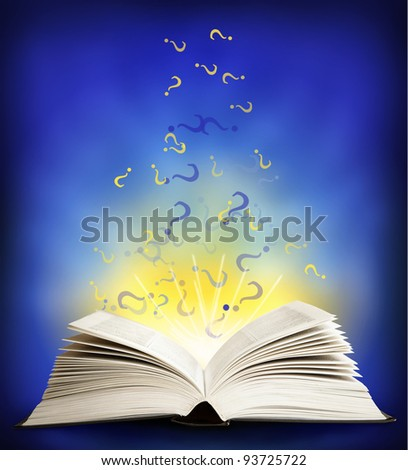 Open magic book on a blue background and lights - stock photo