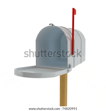 open mail box on a wooden rack - stock photo