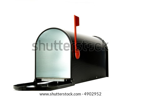 Open mail box with flag up - stock photo