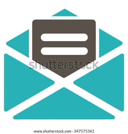 Open Mail glyph icon. Style is bicolor flat symbol, grey and cyan colors, rounded angles, white background. - stock photo