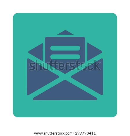 Open mail icon. Glyph style is cobalt and cyan colors, flat rounded square button on a white background. - stock photo