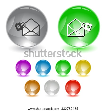open mail with lock. Raster interface element. - stock photo