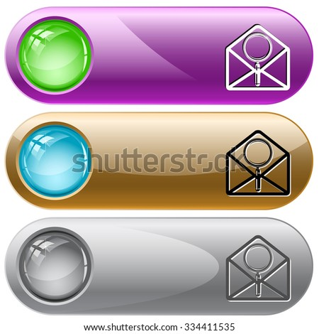 open mail with magnifying glass. Raster internet buttons. - stock photo