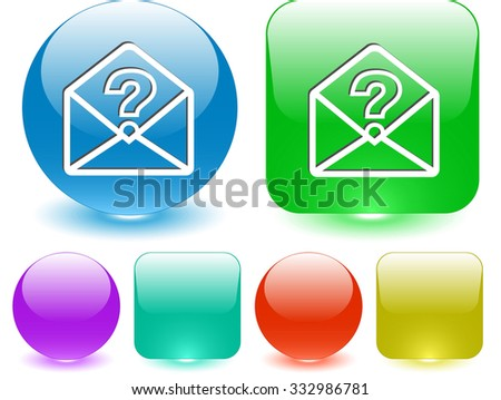 open mail with query sign. Raster interface element. - stock photo