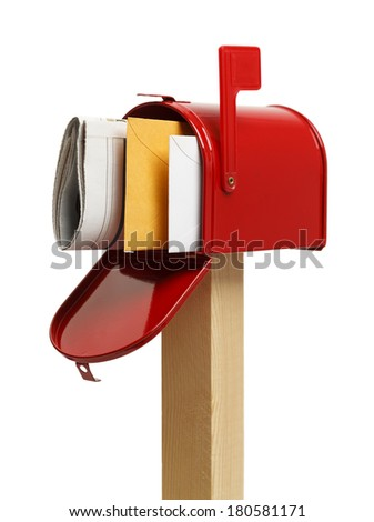 Open Mailbox with Mail Inside Isolated on White Background. - stock photo