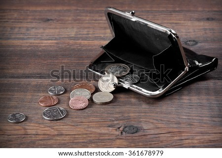 Open Male Black Leather Wallet With British Different Coins On The Old Rough Brown Wooden Textured Background With Copy Space, Top View - stock photo