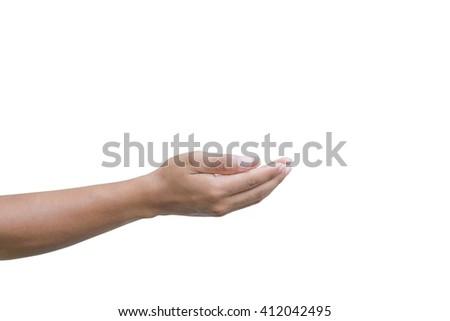 Open man hand on white background. - stock photo