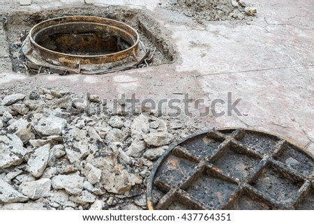 open manhole and repair and replacement of roads background - stock photo