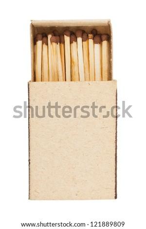 Open matchbox isolated on white background - stock photo