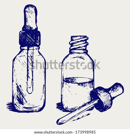 Open medicine bottle with a dropper. Doodle style. Raster version - stock photo
