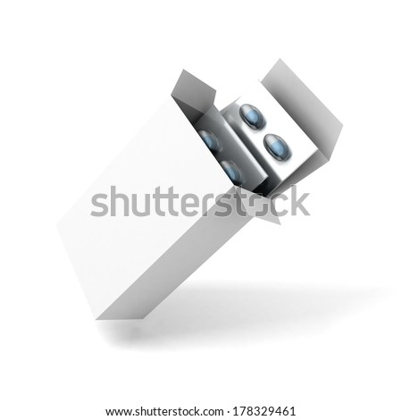 Open medicine packet box with blister pack blue drug pills on white background - stock photo