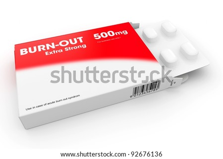 Open medicine packet labelled Burn-out opened at one end to display a blister pack of white tablets, illustration on white - stock photo