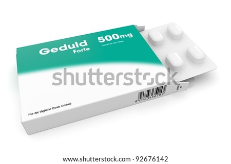Open medicine packet labelled Gedult opened at one end to display a blister pack of white tablets, illustration on white - stock photo