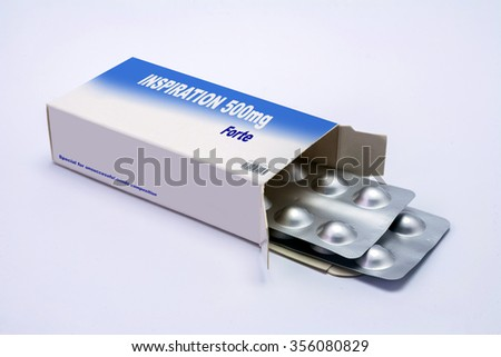 Open medicine packet labelled inspiration opened at one end to display a blister pack of tablets, illustration on white