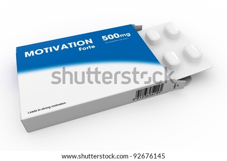 Open medicine packet labelled Motivation opened at one end to display a blister pack of white tablets, illustration on white - stock photo
