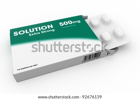 Open medicine packet labelled Solution opened at one end to display a blister pack of white tablets, illustration on white - stock photo