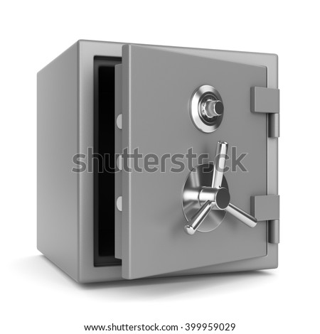Open metal bank security safe with dial code lock isolated on white background. 3D illustration - stock photo