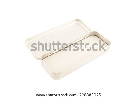 Open metal box isolated - stock photo