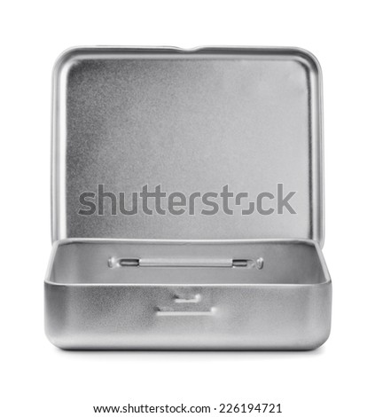Open metal box isolated on white - stock photo
