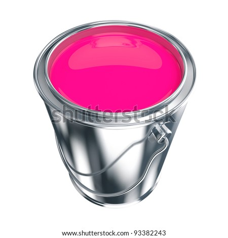 Open metal paint can with purple paint - stock photo