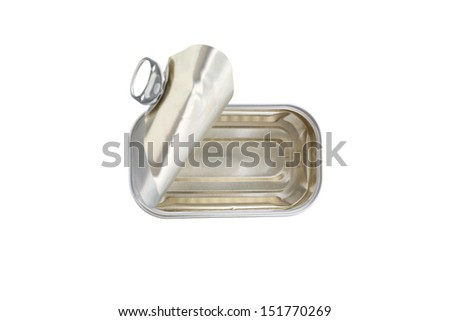 open metal sardine can isolated on white - stock photo