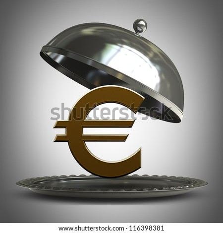 open  metal silver platter or cloche with euro symbol 3d render - stock photo