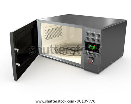 Open metallic microwave on white background. 3d - stock photo