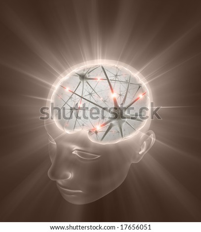 Open Mind Concept. Close up of neurons inside of the head. - stock photo