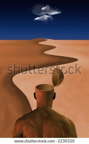 Open Mind in the desert - stock photo